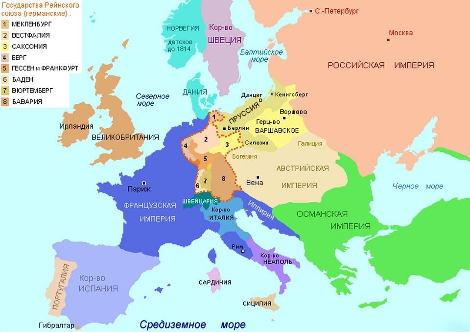 Карта Европы и России 1812-1814 годов.